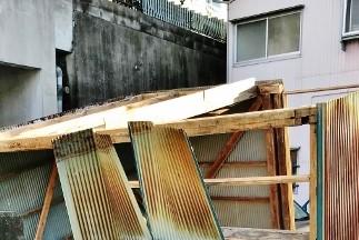 台風建物被害5 物置飛んだ2